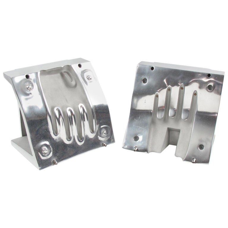 Industrial Stainless Steel Hand Mold Sculpture Bookends, a Pair For Sale