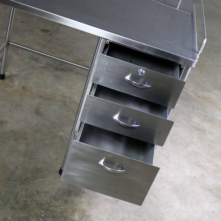 Industrial Stainless Steel Writing Desk Vintage Medical