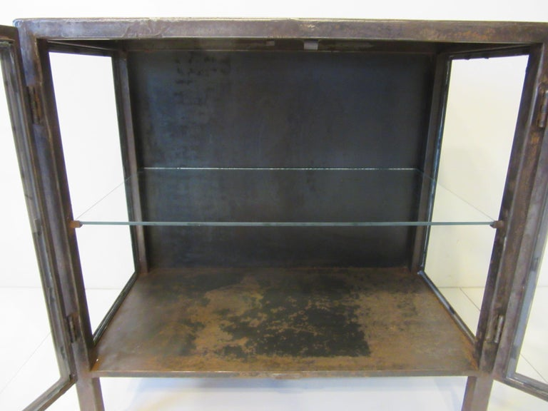 20th Century Industrial Steel and Glass Cabinet / Bookcase For Sale