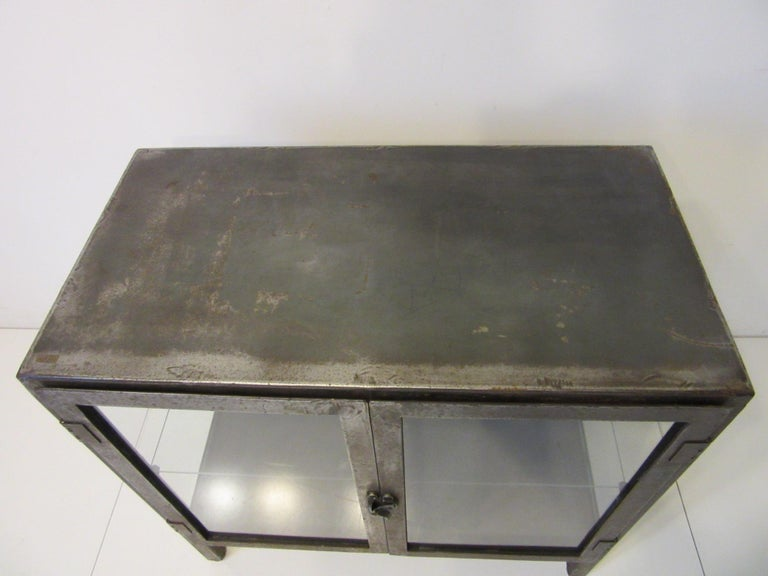 Industrial Steel and Glass Cabinet / Bookcase For Sale 1