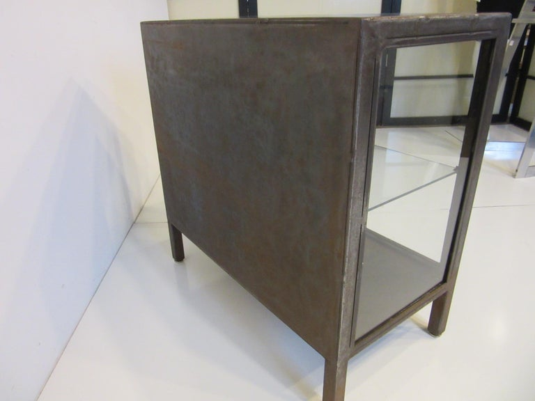 Industrial Steel and Glass Cabinet / Bookcase For Sale 2