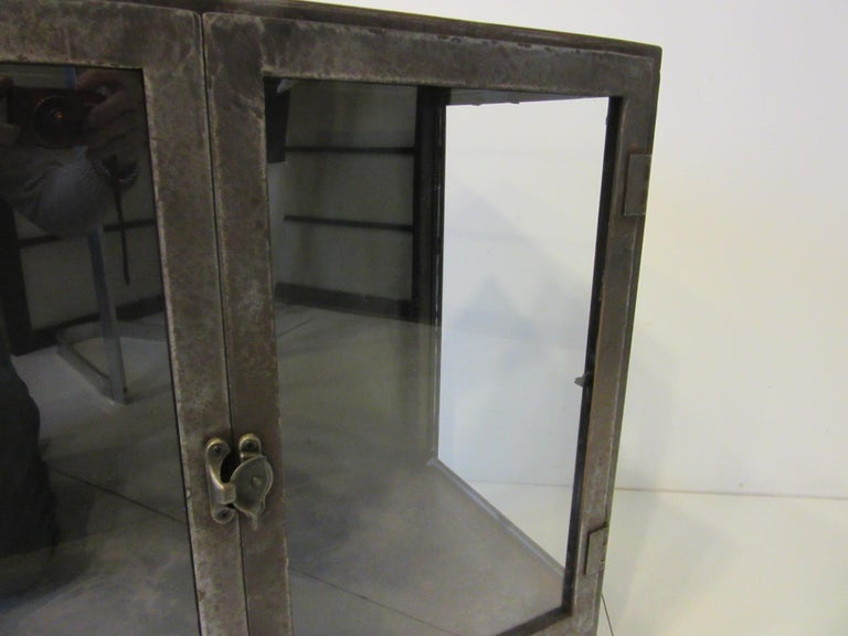 Industrial Steel and Glass Cabinet / Bookcase For Sale 3