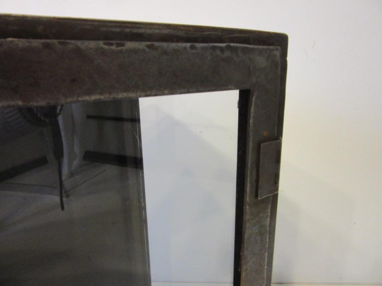 Industrial Steel and Glass Cabinet / Bookcase For Sale 4
