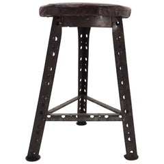 Industrial Steel and Leather Stool