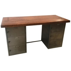 Industrial Steel and Maple Desk with File Cabinets