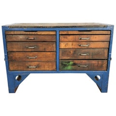 Industrial Steel and Wood Chest of Drawers, 1950s