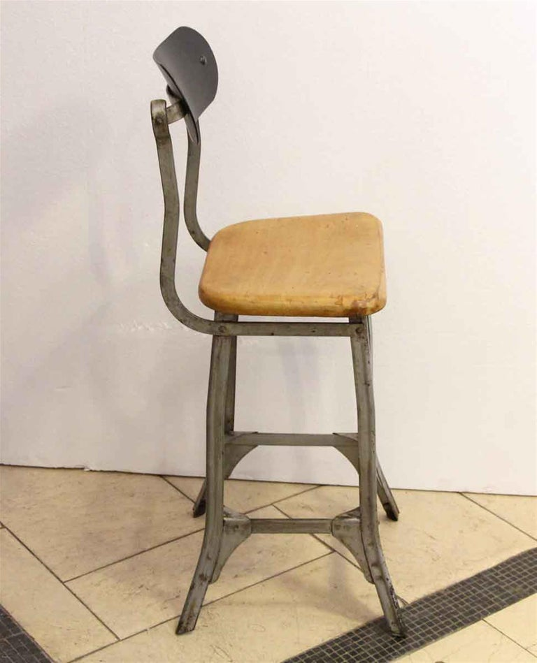 Industrial Steel and Wood Stool, 1940s In Good Condition For Sale In New York, NY