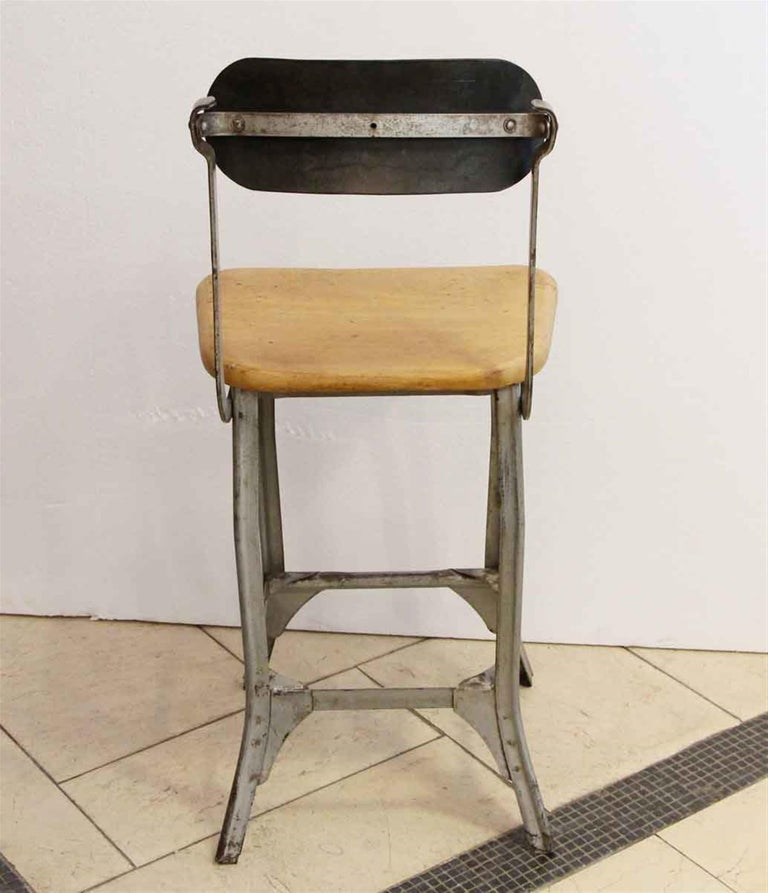Mid-20th Century Industrial Steel and Wood Stool, 1940s For Sale