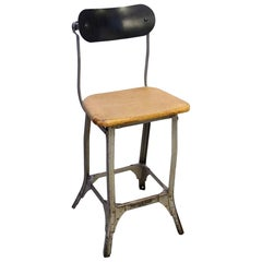 Industrial Steel and Wood Stool, 1940s