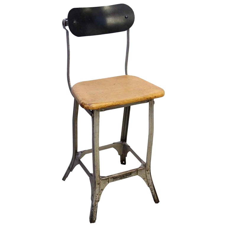 Industrial Steel and Wood Stool, 1940s For Sale