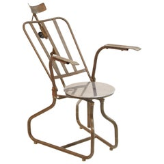 Industrial Steel Dentist Chair or Sculpture from Brazil, circa 1900s