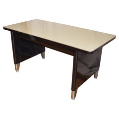 Industrial Steel Desk, Invincible Brand, Midcentury, Black Frame