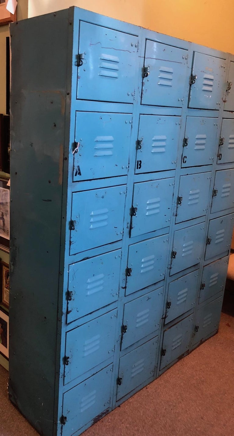 Industrial Steel Storage Locker Set Robin S Egg Blue 24