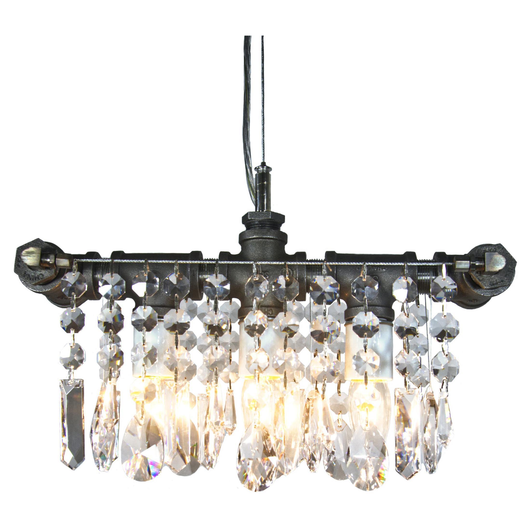 Industrial Steel Three Bulb Crystal Chandelier Pendant