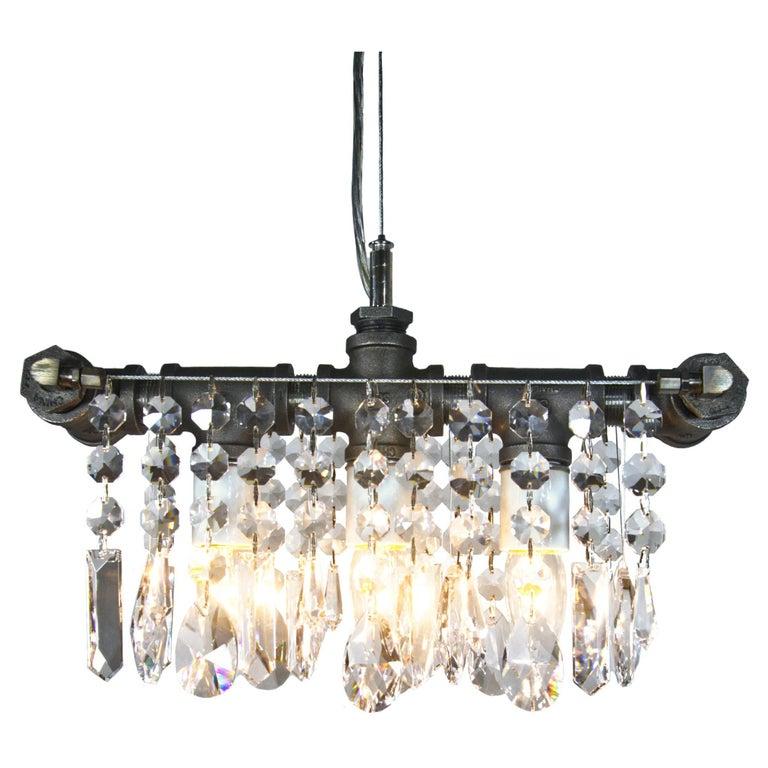 Industrial Steel Three Bulb Crystal Chandelier Pendant For Sale