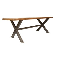 Industrial Steel X-Frame Table with Reclaimed Joist Top