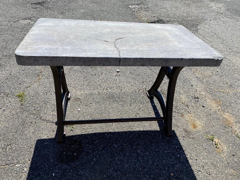 French Industrial Stone Top Kitchen Island Worktable For Sale