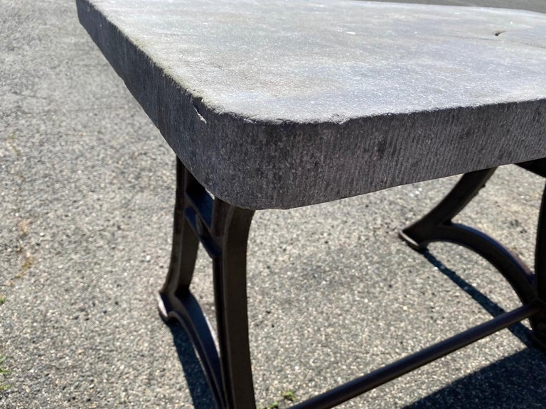 Industrial Stone Top Kitchen Island Worktable In Good Condition For Sale In Great Barrington, MA