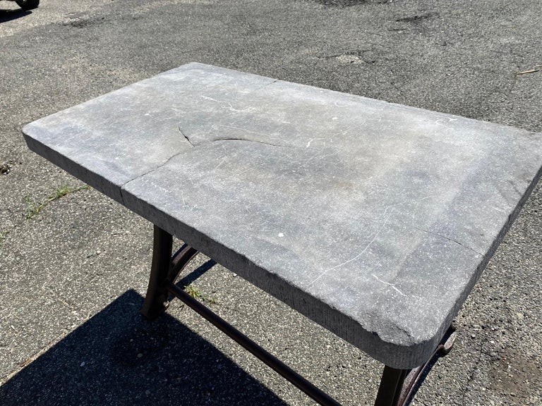 Industrial Stone Top Kitchen Island Worktable For Sale 3
