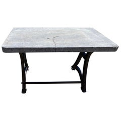 Industrial Stone Top Kitchen Island Worktable