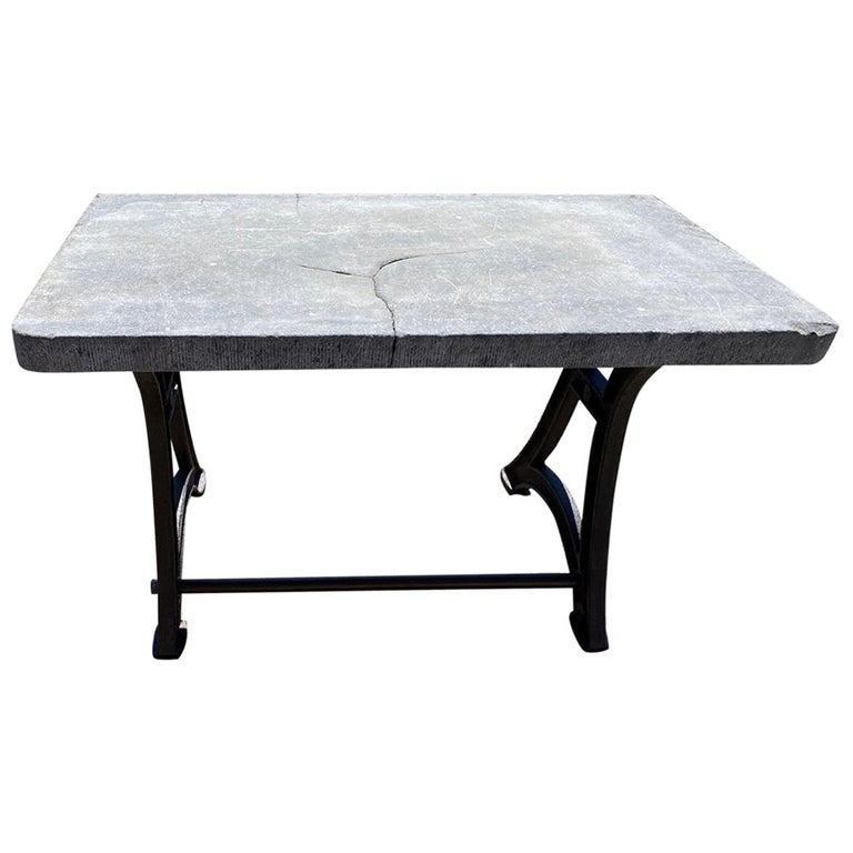 Industrial Stone Top Kitchen Island Worktable For Sale