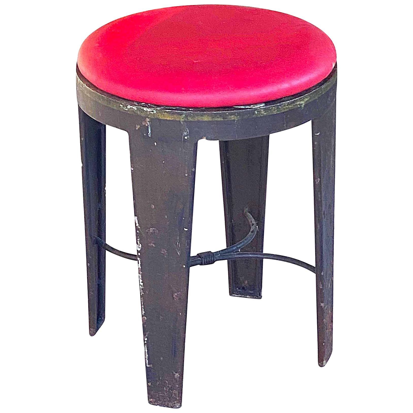 Industrial Stool, in Iron, with Red Faux Leather, Loft Style, France, 1950s