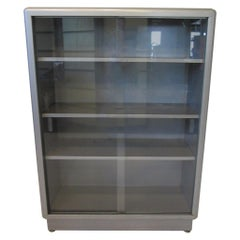 Industrial Streamline Metal / Glass Bookcase by ASE Equipment