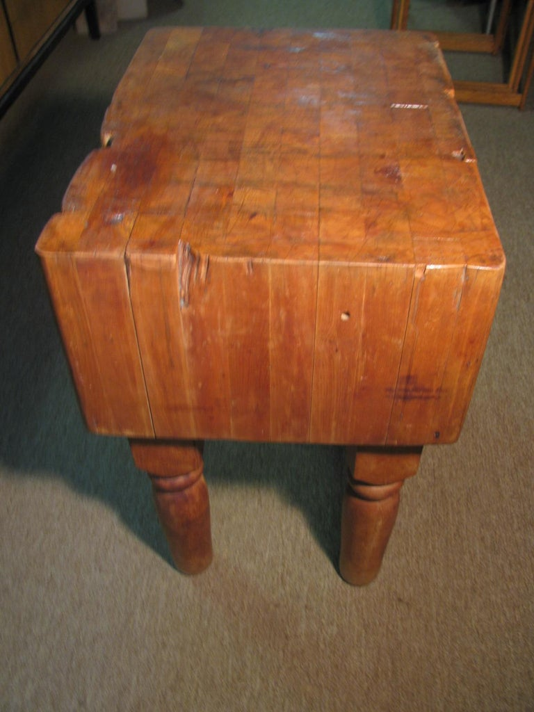 Turned Industrial Strength Maple Butcher Block Table, circa 1940