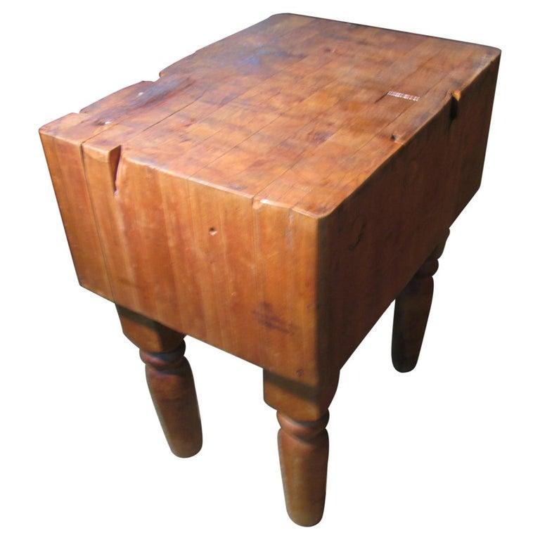 Industrial Strength Maple Butcher Block Table, circa 1940