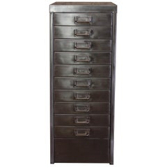 Industrial Stripped Metal 10-Drawer Filing Cabinet A4 Letter Size