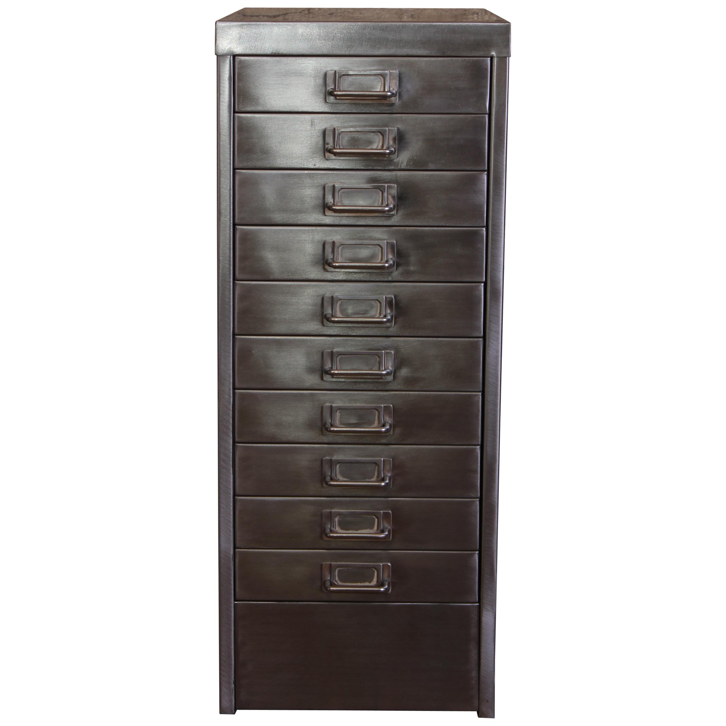 Merveilleux Industrial Stripped Metal 10 Drawer Filing Cabinet A4 Letter Size For Sale  At 1stdibs