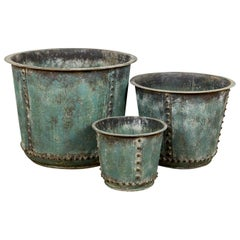 Industrial Studded Copper Effect Planters, 20th Century