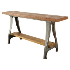 Industrial Style Cast Iron Leg Trestle Console Table