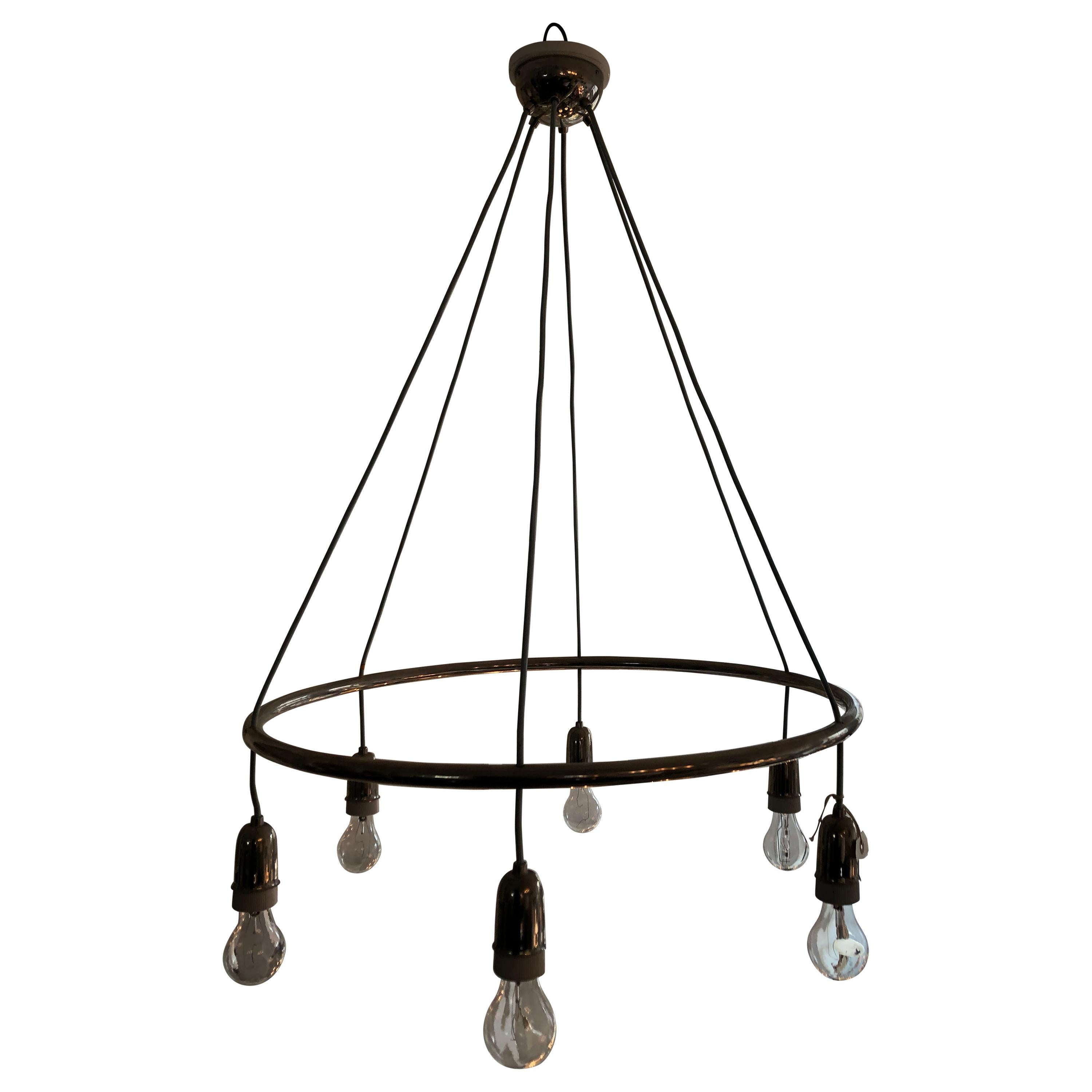 Industrial Style Chrome Chandelier