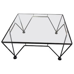 Industrial Style Cocktail Table with Glass Top After Italian Paolo Piva