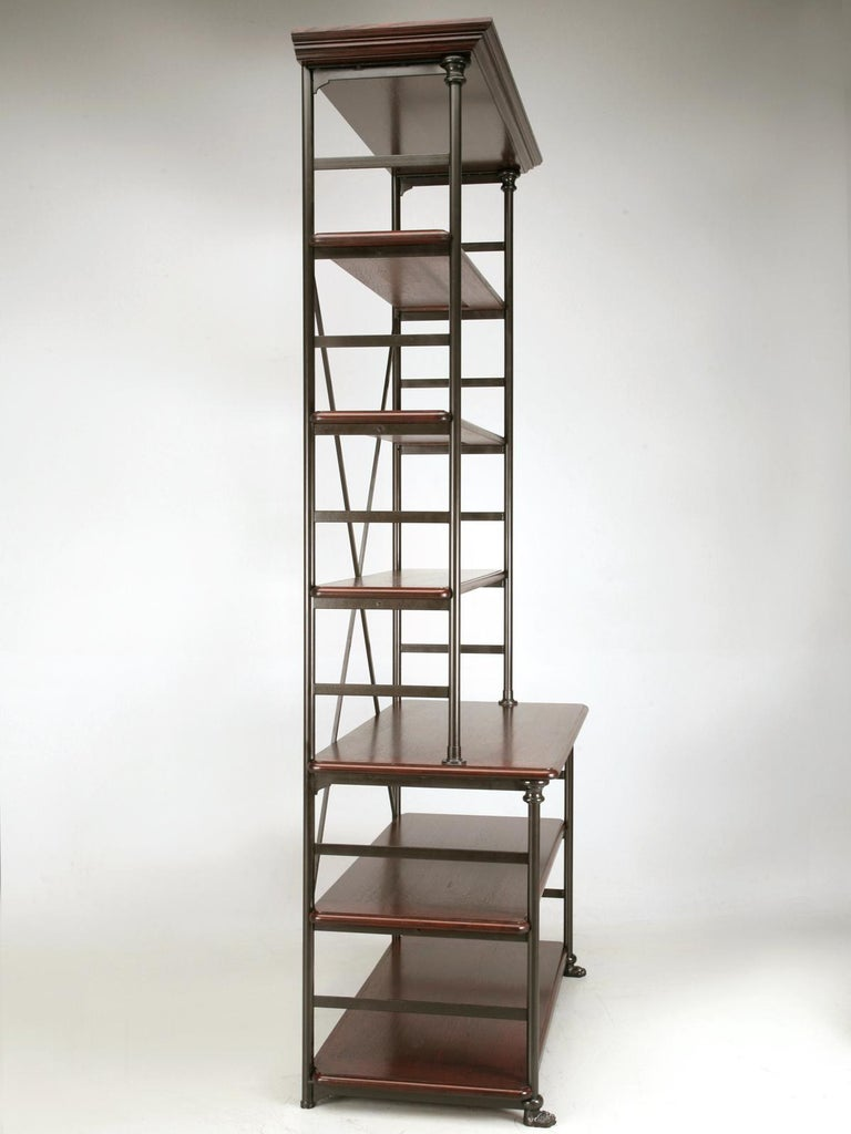 Industrial style bookcase, shelving unit or étagère, whatever you prefer to call it, are now made in our Chicago workshop to your exacting specifications. The framework is generally made from either stainless or cold roll steel and the small round