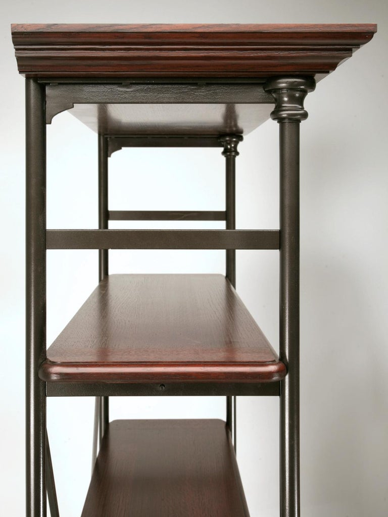 Hand-Crafted Industrial Style Étagère in Steel and Bronze with Oak Shelves in Any Dimension For Sale