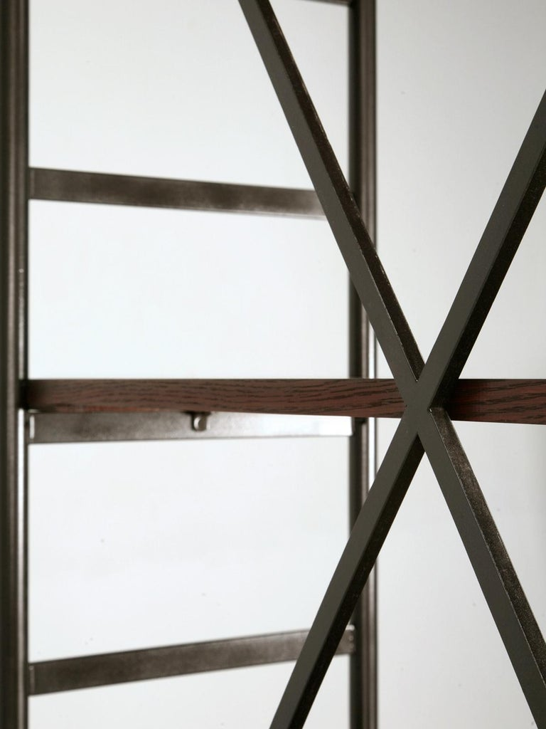 Contemporary Industrial Style Étagère in Steel and Bronze with Oak Shelves in Any Dimension For Sale
