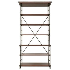 Industrial Style Étagère in Steel and Bronze with Oak Shelves in Any Dimension