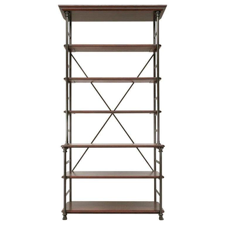 Industrial Style Étagère in Steel and Bronze with Oak Shelves in Any Dimension For Sale