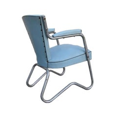 Powder Blue French Art Deco Bauhaus Office Chair