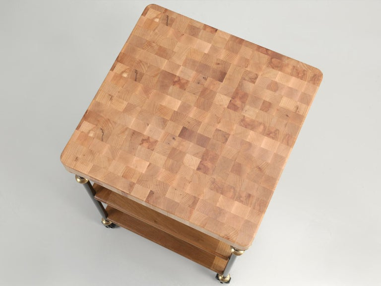 Hand-Crafted Industrial Style French Inspired Kitchen Island, Butcher Block Top in Any Size For Sale