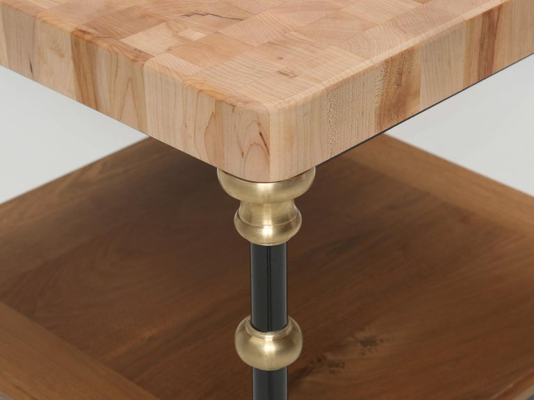 Steel Industrial Style French Inspired Kitchen Island, Butcher Block Top in Any Size For Sale