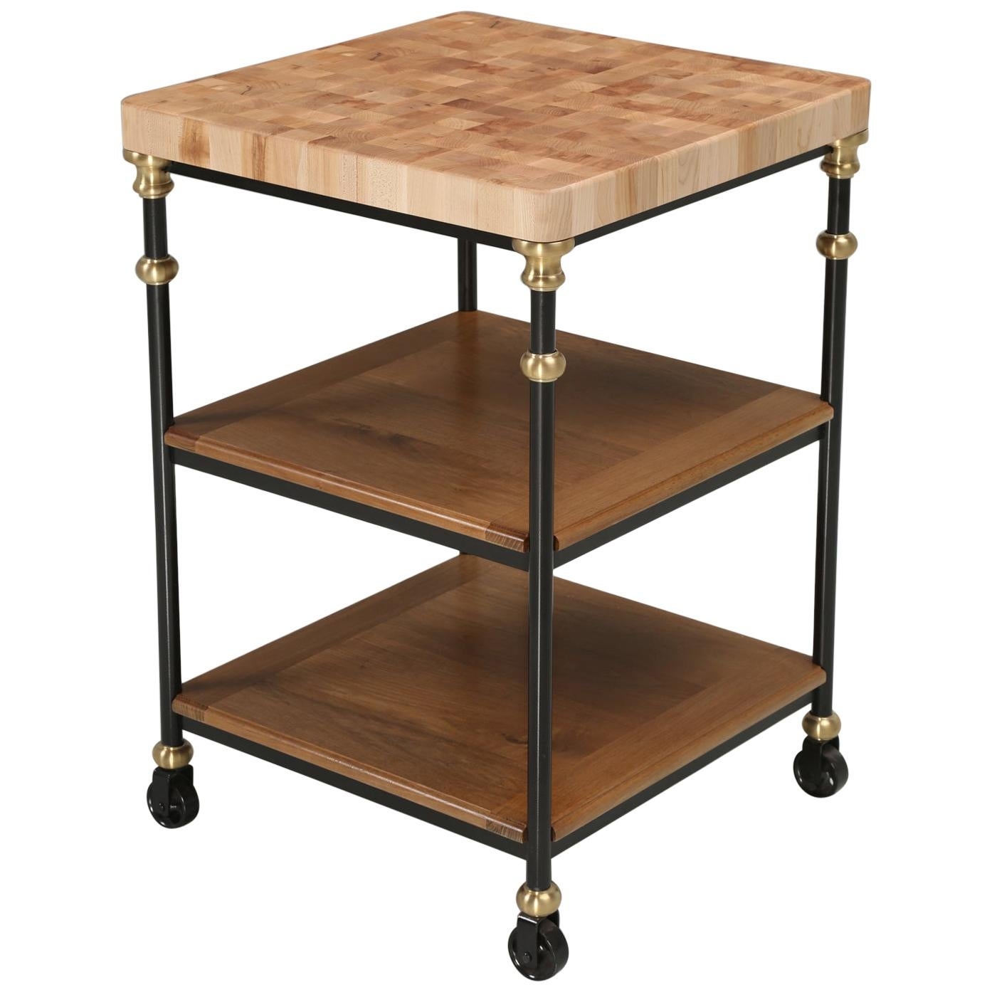 Industrial Style French Inspired Kitchen Island, Butcher Block Top in Any Size