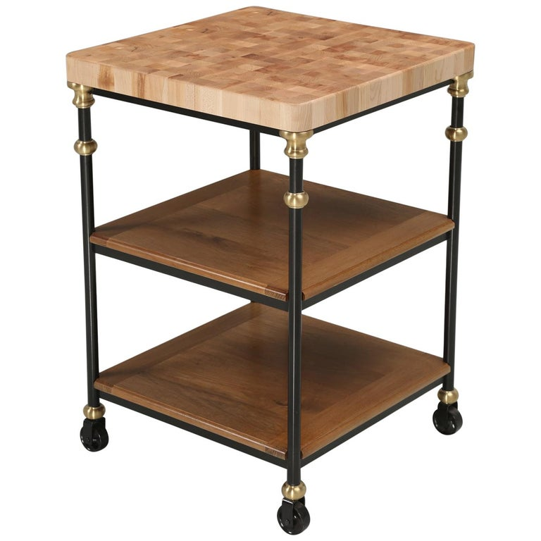 Industrial Style French Inspired Kitchen Island, Butcher Block Top in Any Size For Sale