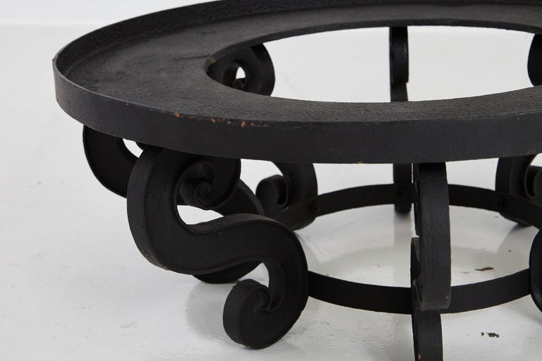 Steel Industrial Style Large and Low Round Mat Black Iron Garden Table, circa 1920s For Sale