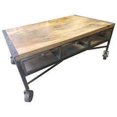 Industrial Style Loading Dock Cart Cocktail Table Six Wire Basket Drawers
