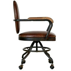 Industrial Style Oval Back Desk Chair, circa 1930