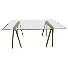 Industrial Style Saw Horse Base Dining Table