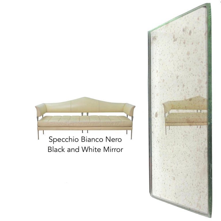Industrial Style Silver Iron Frame Paneled Aged Glass Rounded Edges Mirror For Sale 8